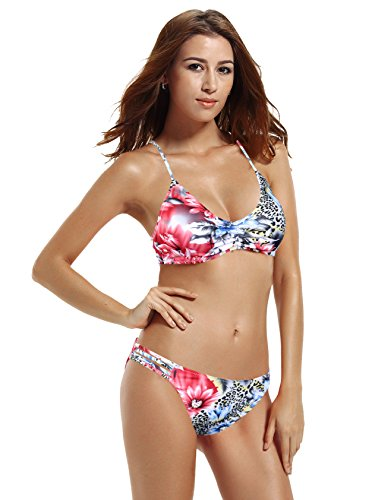 zeraca Women's Cute Retro Halter Racerback Bikini Bathing Suits S6 Floral Bikini Back One Piece Swimsuit