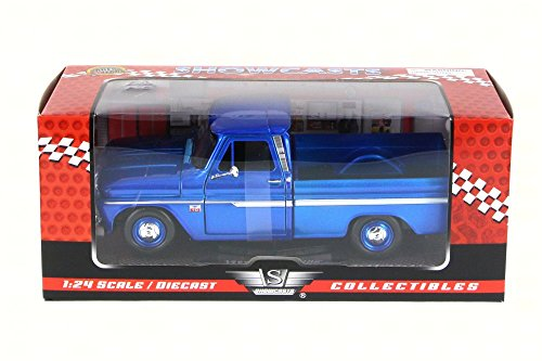 1966 Chevy C10 Fleetside Pickup Truck, Dark Blue - Motormax 73355 - 1/24 scale Diecast Model Toy Car