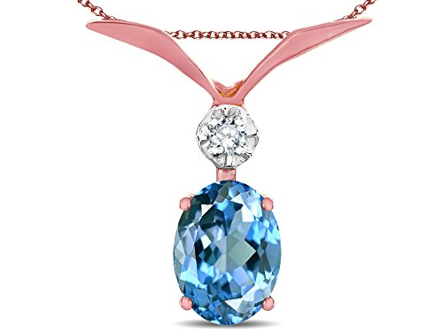 Star K 14K Gold Oval 8x6mm Genuine Blue Topaz V Shaped Pendant Necklace