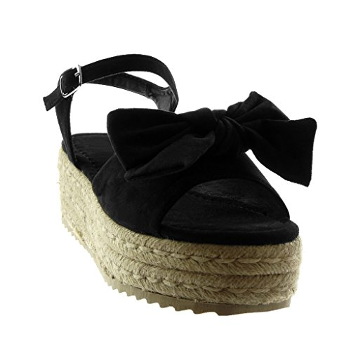 Talon Plateforme 6 Sandale Tréssé Corde Femme Mode cm Noeud Cheville Lanière Chaussure Mule Compensé Noir Plateforme Angkorly OUwxPqW