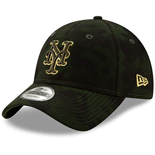 - New Era 2019 MLB New York Mets Arm Forces Day RIG Baseball Cap 9Twenty Adjust Green/Gold