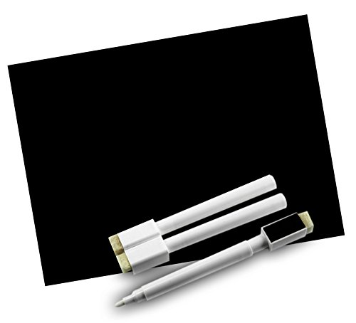 Black Dry Erase Chalkboard Magnet Sheet / roll for Kitchen or Office, With white Magnetic Chalk marker (8.5x11 inches)