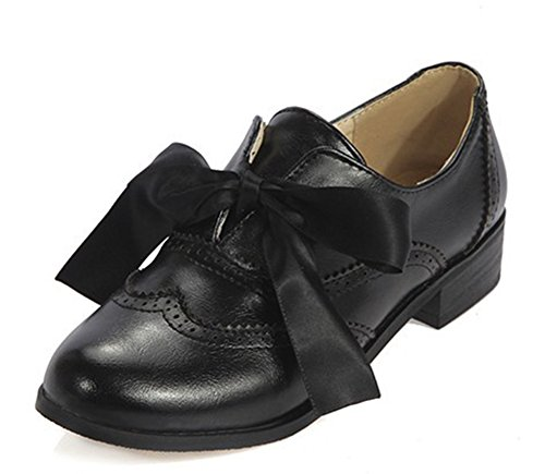 Aisun Womens Casual Cute Round Toe Dress Slip On Oxfords Shoes Pumps Chunky Low Heels With Bows Black vbPYP