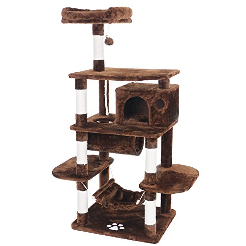 BEWISHOME Cat Tree with Play Tunnel Sisal Scratching Posts Perch House Hammock, Cat Tower Condo Furniture Kitty Kitten Activity Center Pet Play House Playground Brown MMJ02Z