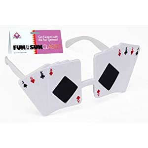 Loftus International Star Power Poker Themed Jack Queen King Ace Sunglasses, White, One Size