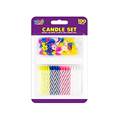 The Home Fusion Company 100 Piece Birthday Party Candle Set Assorted Coloured Candle Holders & Candles: Home & Kitchen