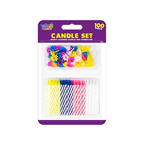 Fusion Candle Holder - The Home Fusion Company 100 Piece Birthday Party Candle Set Assorted Coloured Candle Holders & Candles