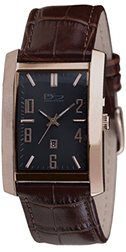 - Daniel Steiger Richmond Rose Gold Brown Watch - Classic Rectangle Case - Rose Gold Plated Solid Stainless Steel - Brown Leather Band - Precision Quartz Movement with Date