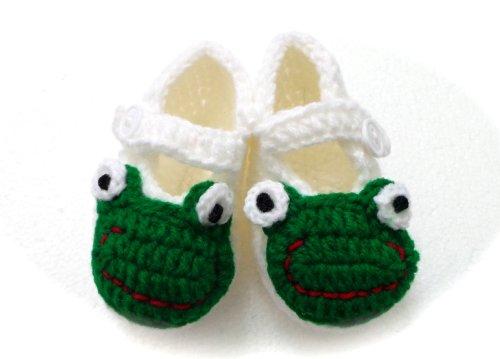 BB.74 - Chaussons Chaussures Bébé Enfant 0/6 Mois Grenouille - Pointure 17 - Crochet Fait Main - Cadeaux Photos de Naissance