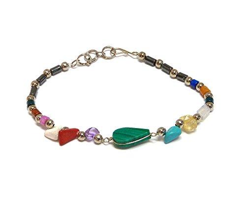 Mia Jewel Shop Teardrop Stone Multicolored Beaded Chip Stone Hematite Bracelet (Green Malachite) - Green Malachite Chip