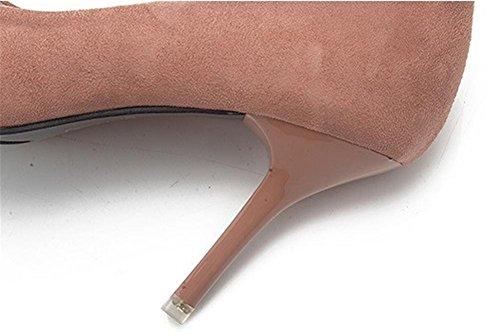pengweiChaussures pour talons hautes peu sandales aider pointues bouche profondes chaussures brown basse les de la mode TpqBTY