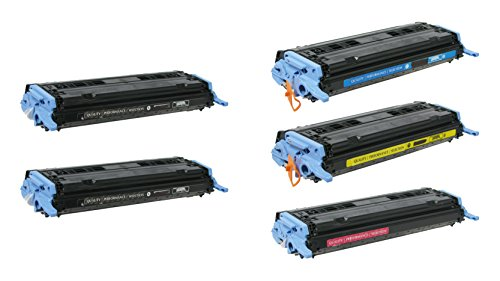 5/Pack Q6000A Q6001A 2B/1C/1M/1Y Combo Toner Cartridge for HP Compatible with: Color LaserJet CM1015 CM1017 MFP 1600 2600N 2605 dn (Laserjet 2600n Laser)