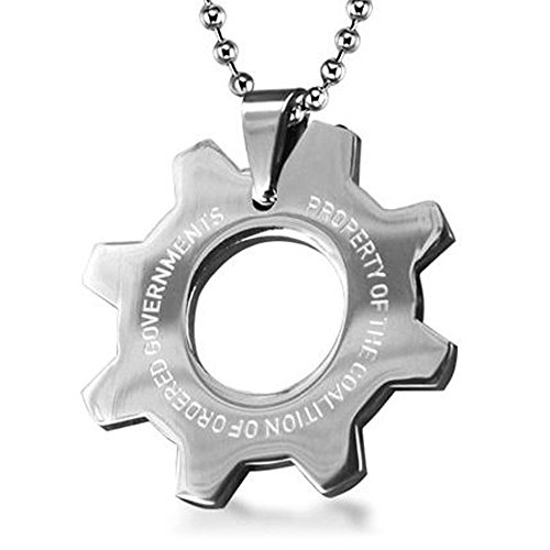 OK-STORE Gear Cog Symbol Metal Necklace, Zinc Alloy Pendant Keychain Stainless Steel Tag Keyring