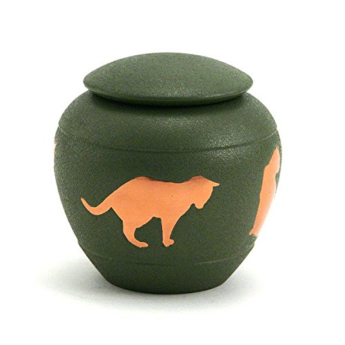 Silhouette Cat Cremation Urn - Fern Green - 30 Cubic Inches