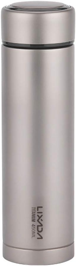 Lixada Titanium Water Bottle Double Wall Vacuum Insulated Titanium Water Bottle 500ml Flask Outdoor Sports Leak Proof Water Bottle