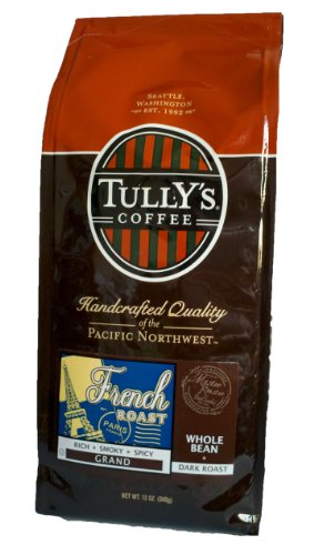 Tully's Coffee French Roast, Whole Bean, 12-Ounce Bags (Pack of 2)