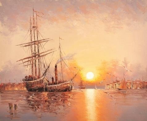 Sea Sailing Pirate Costumes - High Quality Polyster Canvas ,the Replica Art DecorativeCanvas Prints Of Oil Painting 'Sunset Seascape With Sailing Ships And Sea Gulls', 8x10 Inch / 20x25 Cm Is Best For Gym Decor And Home Decoration And Gifts