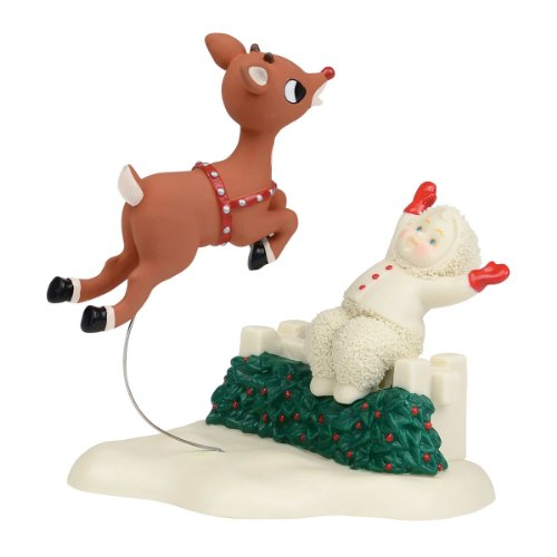 Department 56 Snowbabies Guest Collection Rudolph the Red-Nosed Reindeer Flight Training Figurine, 5.25 inch