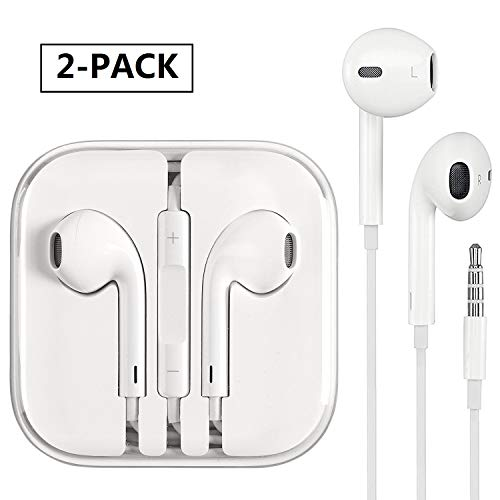 Lyoolook 2 Pack Earphones, Earbuds, Headphones, Microphone Stereo Sound Volume Control Compatible/Replacement Apple iPhone 6s/6 Plus/5s/5/4s/4/iPad/iPod by Lyoolook