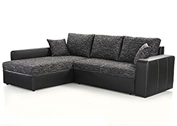 Ecksofa Vida 244x174cm Anthrazit Schwarz Couch Sofa Wohnlandschaft