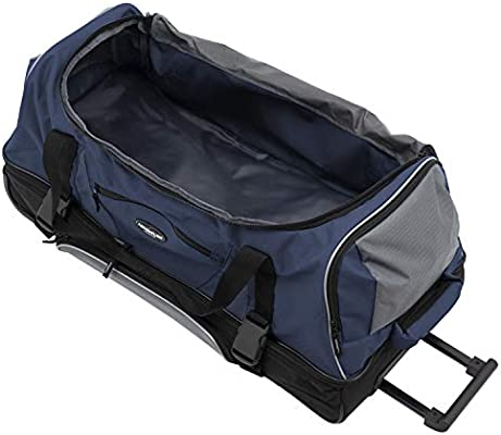 Travelers Club 30 ADVENTURE Double Packing Compartment Rolling Duffel Navy with Gray Color Option