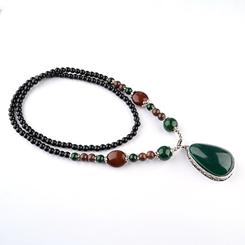 Retro Beaded Necklace (YOMM Retro Beautiful Long Beaded Glass Beads Pendant Necklace)