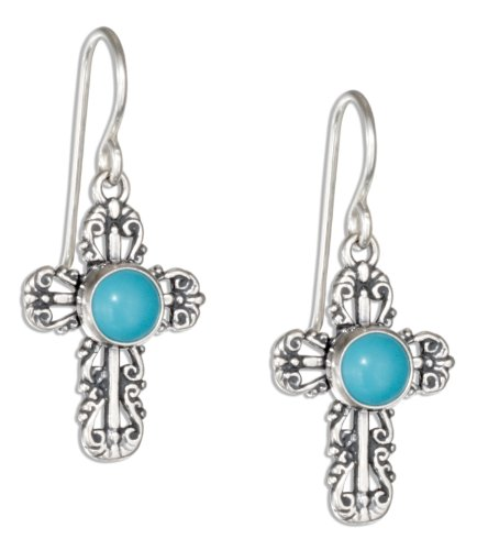 Sterling Silver Filigree Simulated Turquoise Cross Earrings