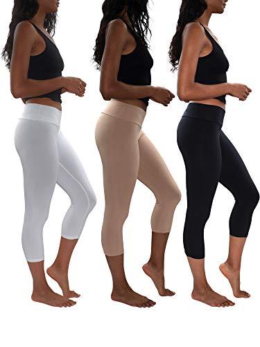 Womens 3 Pack Buttery Soft Brushed Active Stretch Yoga Cropped Capri Skinny Pant Leggings (3 Pack-Black/Khaki/White, X-Large) - Brushed Short