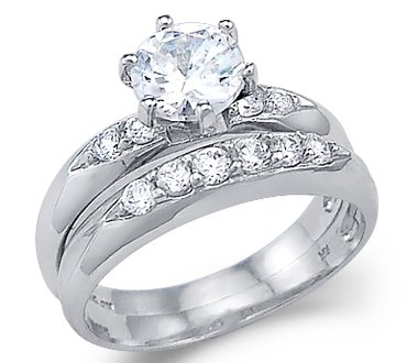 size 4 solid 14k white gold solitaire engagement wedding set cz cubic zirconia ring - Cz Wedding Rings