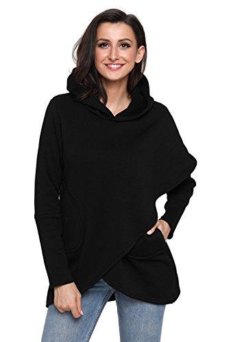 Huusa Sexy Womens Asymmetric Hem Hoodie Long Sleeve Sweatshirt Tops S Black -