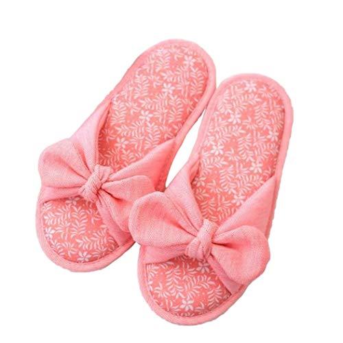Rosa Dei Letto Famiglie Delle Arco Femminile Lady Traspirante Indoor Antiscivolo Camera Da Pantofole Di Primavera nodo Sandali Cotone qT5EB