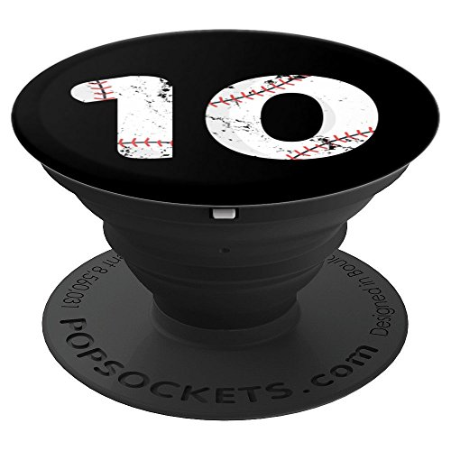 Number #10 BASEBALL Vintage Distressed Team Art - PopSockets Grip and Stand for Phones and Tablets