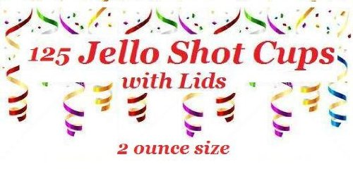 Polar Ice PI125200CT 125 Count Plastic Jello Shot Cups with Lids, 2-Ounce (1, Translucent)
