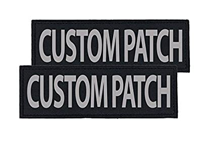 Dogline Custom Reflective Patch for Vest, Harness Or Collar | Customizable Text | Personalized Patches with Hook Backing | Name, Service Dog, in Training, Emotional Support, Therapy Dog, Agility