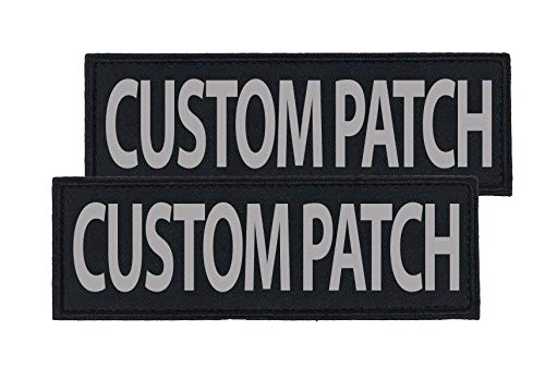 Dogline CUSTOM Removable Patches with backing and 3M Refelctive Lettering for Harness, Vest or Collar - Service Dog, In Training, Therapy Dog, Do Not Pet, PTSD or Personalized