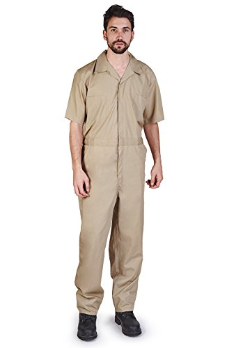 M&M SCRUBS Overall Workwear Men Short Sleeve Coveralls L Khaki