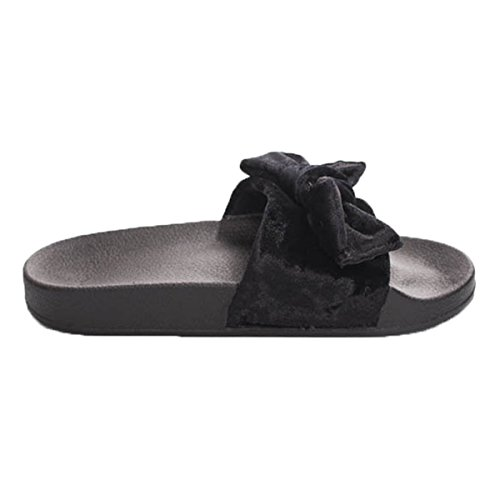 Pantofole Da Donna Open Toe In Velluto Nero