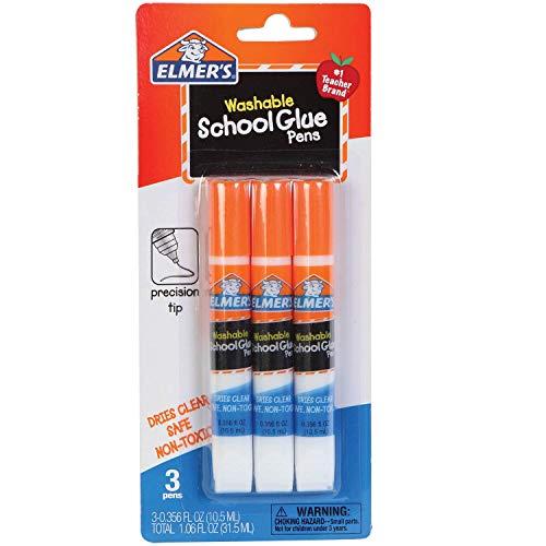 Washable Glue Pen - Elmer's Washable School Glue Pens with Precision Tips #1 Teacher Brand (3-pens Per Pack)