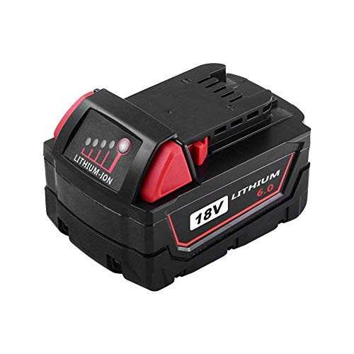 18v 6.0Ah Lithium Battery, Power Tool Replacement for Milwaukee 18volts Cordless Drill Tools 48-11-1890 48-11-1860 48-11-1850 48-11-1840 48-11-1820 48-11-1815 -  MASIONE