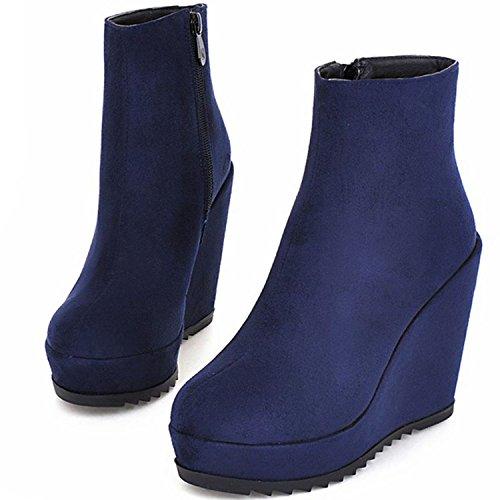 KingRover Women's Platform Wedge Side Zippers Covered Ankle Vegan Boots Size Blue rIlDi