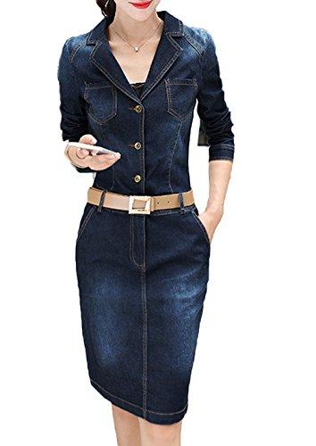 Lapel Single Breasted Denim - Women Retro Lapel Single-breasted Long Sleeve Denim Mini Vintage Dress with Belt Blue XL