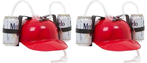 EZ Drinker Beer & Soda Guzzler Red Drinking Helmet (2 Pack) ()