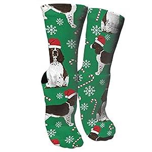 antspuent English Springer Spaniel Santa Christmas Compression Socks Athletic Cotton Crew Socks Multi Performance Outdoor Sports Hiking Casual Socks 2