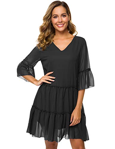 CHICIRIS Women's Ruffle 3/4 Sleeve Loose Double Layered Casual Mini Chiffon Dress Black M