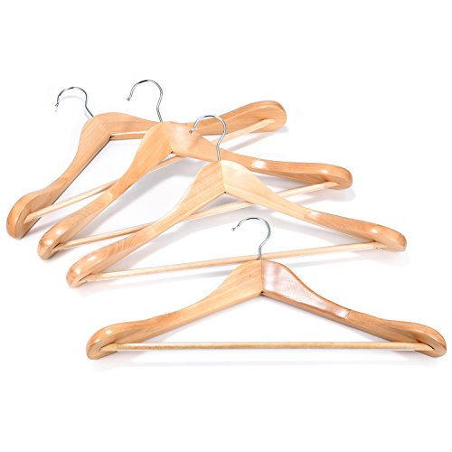Coat hanger 6 pack royalhanger wood hangers trouser for What to do with extra clothes hangers