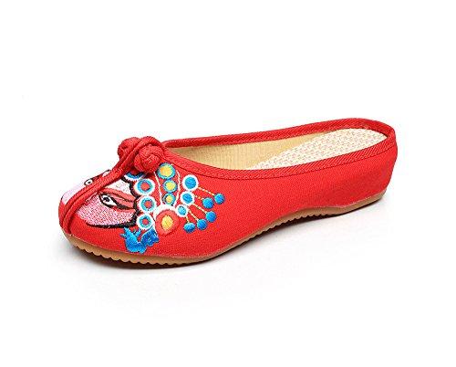 WXT Zapatos bordados, lenguado de tendón, estilo étnico, flip flop femenino, moda, sandalias cómodas y casuales Red