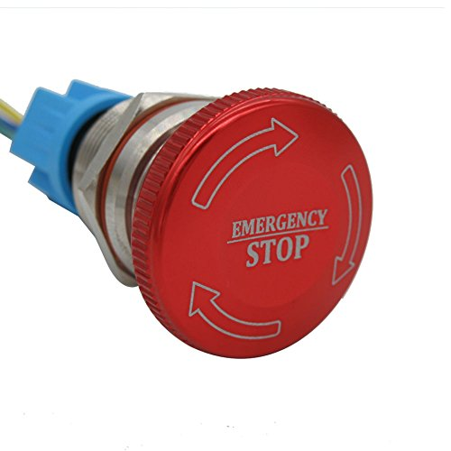 TWTADE / 22mm 12-220V 3A Mounted Thread 3 Pin Latching Emergency Stop Push Button Switch Stainless Steel Metal 1NO 1NC Pushbutton Switches add Connection Plug