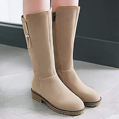 Flat Boots Calf Mid Women Beige Sjjh 5Oaq77