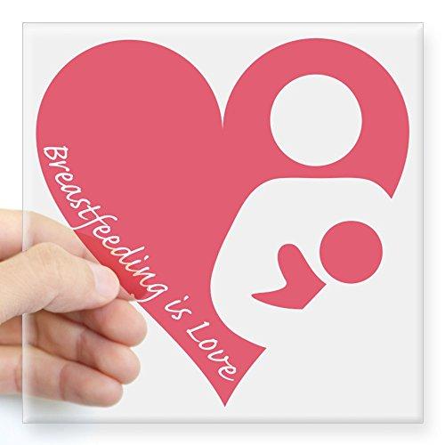 CafePress Breastfeeding is Love Sticker Square Bumper Sticker Car Decal, 3