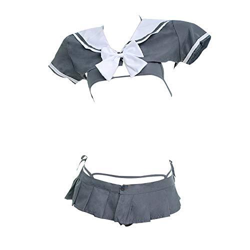 - YOMORIO Japanese Schoolgirl Uniform Sexy Anime Cosplay Bikini Underwear with Mini Shirt and Pleated Skirt Grey